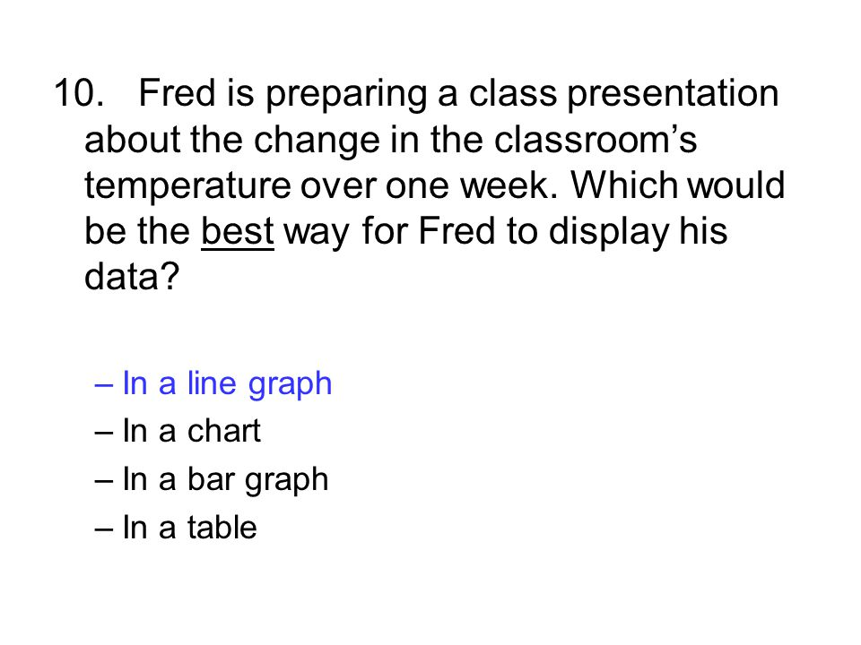 10.Fred is preparing a class presentation about the change in the classroom's temperature over one week. Which would be the best way for Fred to displ