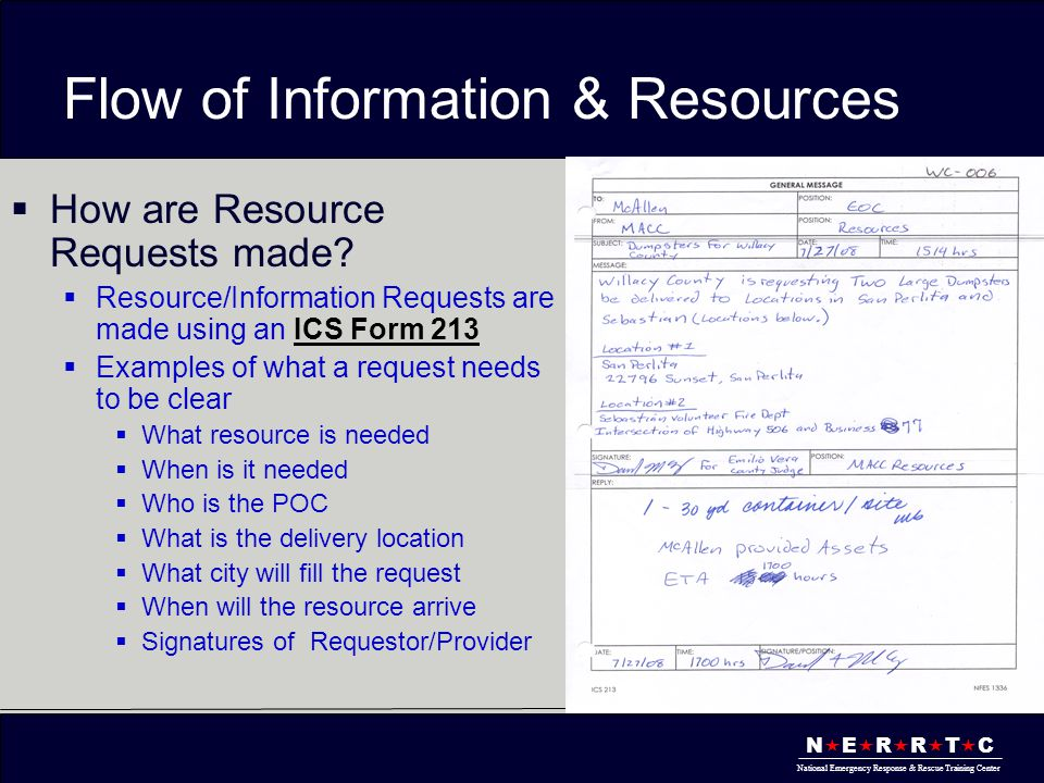 N  E  R  R  T  C National Emergency Response & Rescue Training Center Flow of Information & Resources  How are Resource Requests made?  Resourc