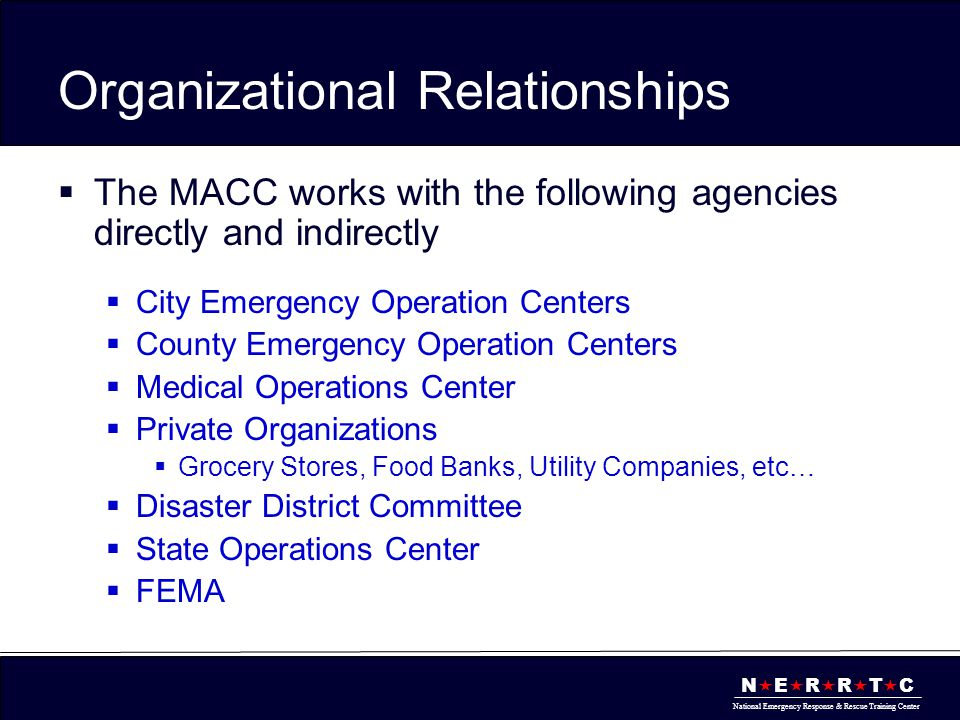 N  E  R  R  T  C National Emergency Response & Rescue Training Center Organizational Relationships SOC DDC Hidalgo County EOC City EOCs Incident Command Post (ICP) Cameron County EOC City EOCs Incident Command Post (ICP) Willacy County EOC City EOCs Incident Command Post (ICP) Private Organizations MACC State Resources Regional Resources
