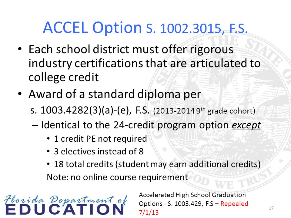ACCEL Option S. 1002.3015, F.S. Each school district must offer rigorous industry certifications that are articulated to college credit Award of a sta