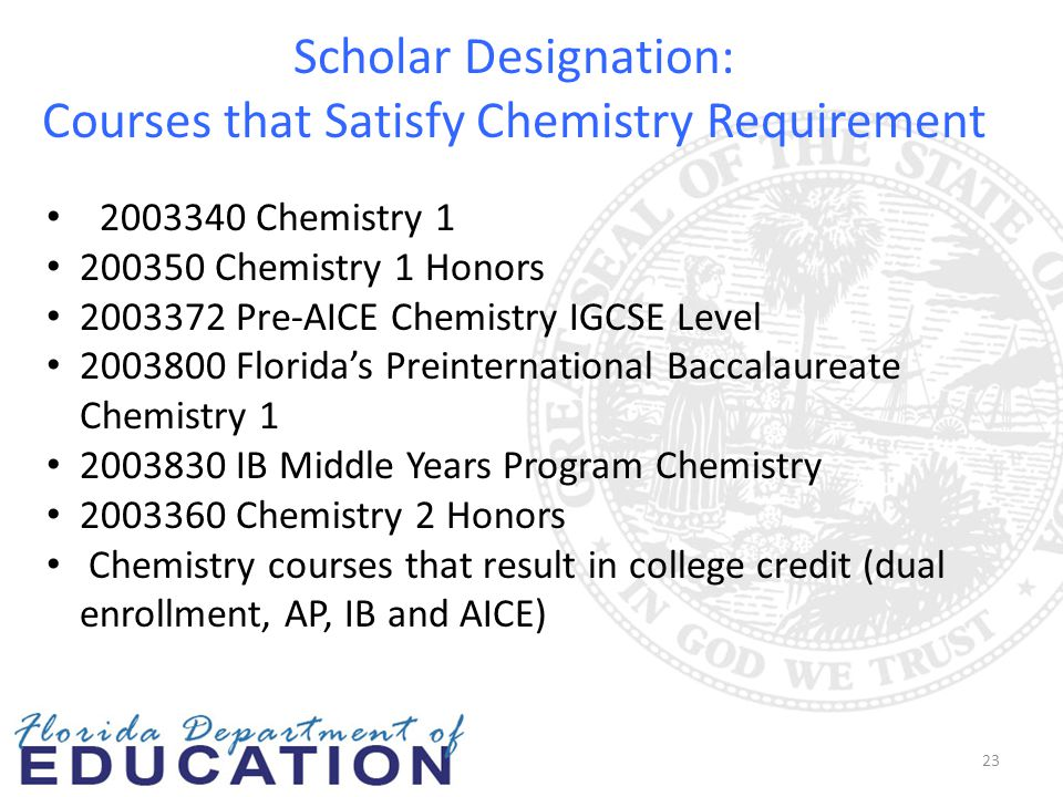 Scholar Designation: Courses that Satisfy Chemistry Requirement 23 2003340 Chemistry 1 200350 Chemistry 1 Honors 2003372 Pre-AICE Chemistry IGCSE Leve