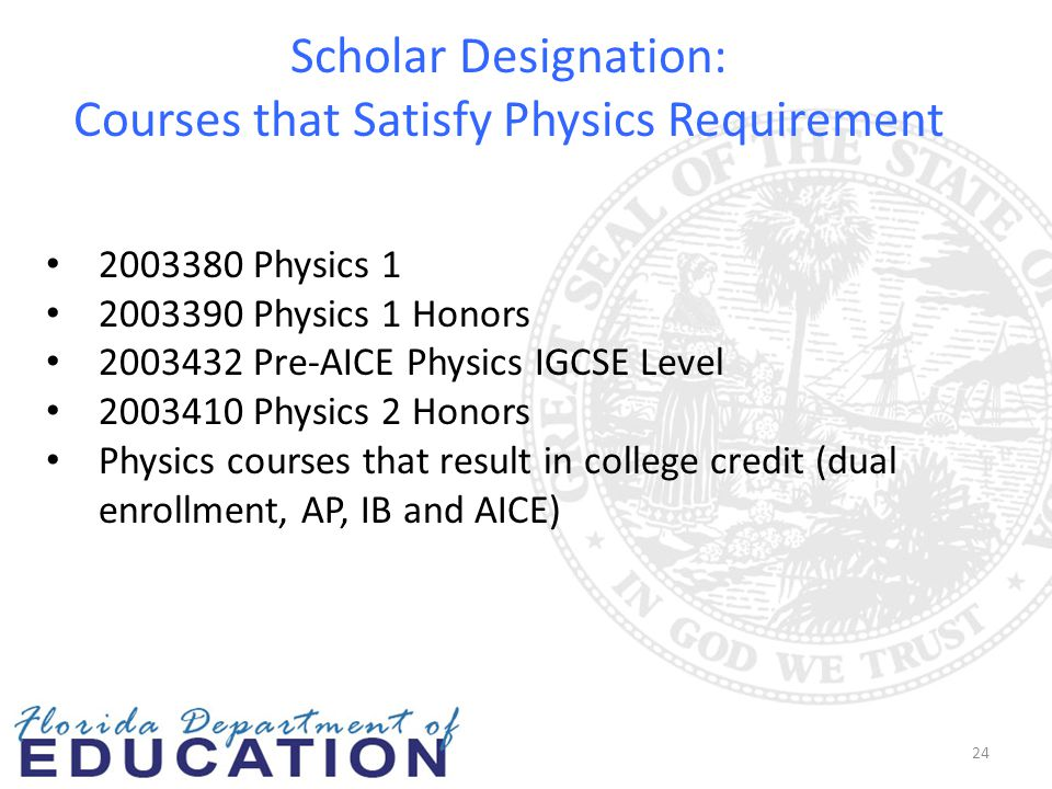 Scholar Designation: Courses that Satisfy Physics Requirement 24 2003380 Physics 1 2003390 Physics 1 Honors 2003432 Pre-AICE Physics IGCSE Level 20034