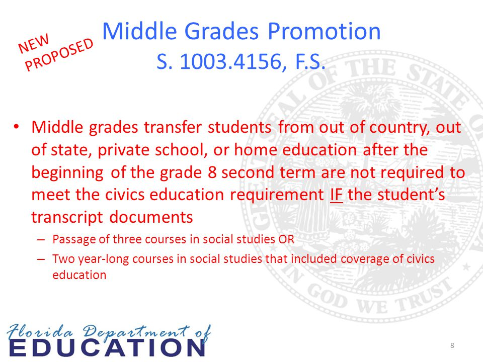 Middle Grades Promotion S. 1003.4156, F.S. Middle grades transfer students from out of country, out of state, private school, or home education after