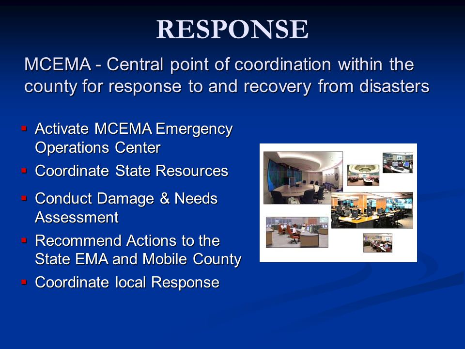 RECOVERY Restore governments, Restore governments, systems, and people to systems, and people to pre-disaster levels pre-disaster levels Administer local Administer local assistance programs assistance programs Infrastructure Infrastructure Individuals & families Individuals & families Assist with long-term recovery activities Assist with long-term recovery activities