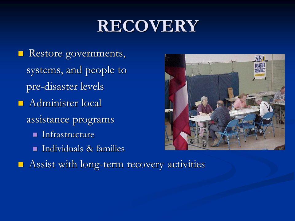 RECOVERY Restore governments, Restore governments, systems, and people to systems, and people to pre-disaster levels pre-disaster levels Administer lo
