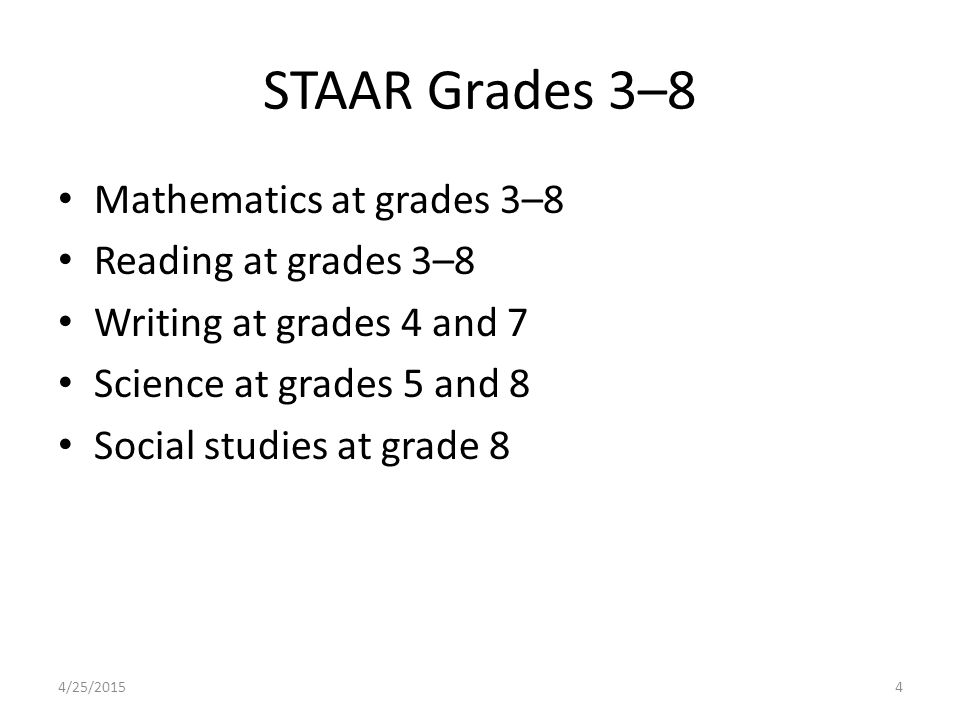 STAAR Grades 3–8 Mathematics at grades 3–8 Reading at grades 3–8 Writing at grades 4 and 7 Science at grades 5 and 8 Social studies at grade 8 4/25/20154