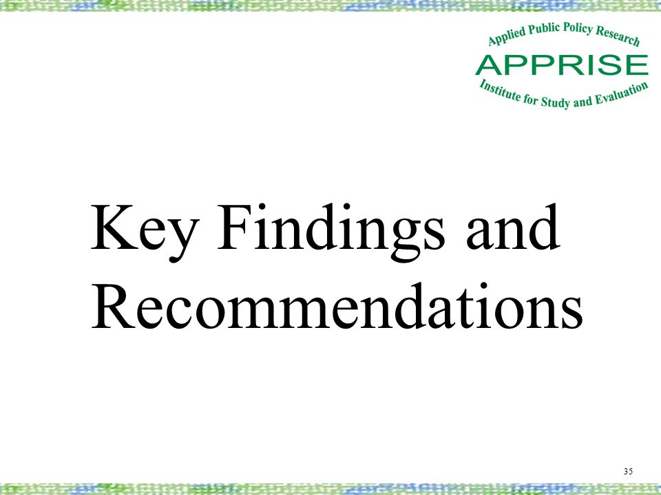 Key Findings and Recommendations 35