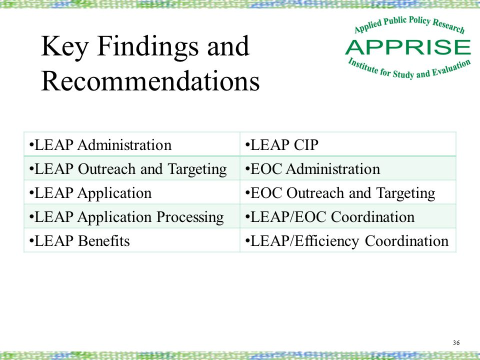 Key Findings and Recommendations 36 LEAP Administration LEAP CIP LEAP Outreach and Targeting EOC Administration LEAP Application EOC Outreach and Targeting LEAP Application Processing LEAP/EOC Coordination LEAP Benefits LEAP/Efficiency Coordination