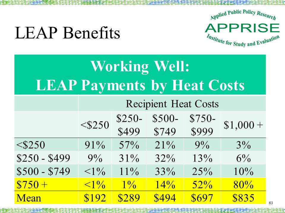 LEAP Benefits 63 Working Well: LEAP Payments by Heat Costs Recipient Heat Costs <$250 $250- $499 $500- $749 $750- $999 $1,000 + <$25091%57%21%9%3% $250 - $4999%31%32%13%6% $500 - $749<1%11%33%25%10% $750 +<1%1%14%52%80% Mean$192$289$494$697$835
