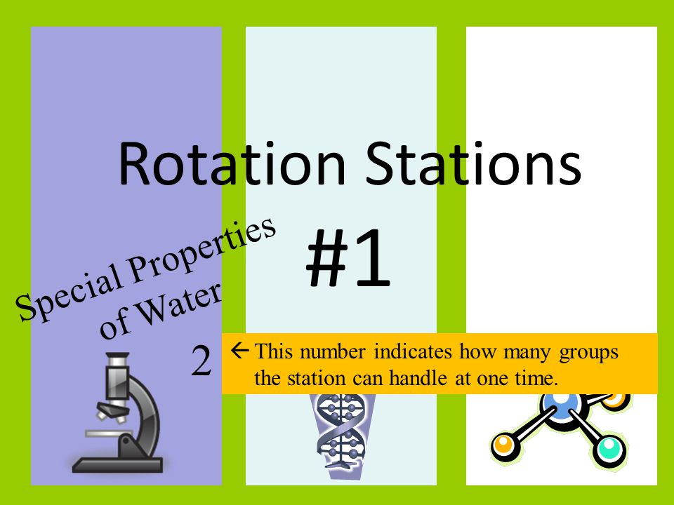 TITLE: Rotation Stations #1 Special Properties of Water 2  This number indicates how many groups the station can handle at one time.