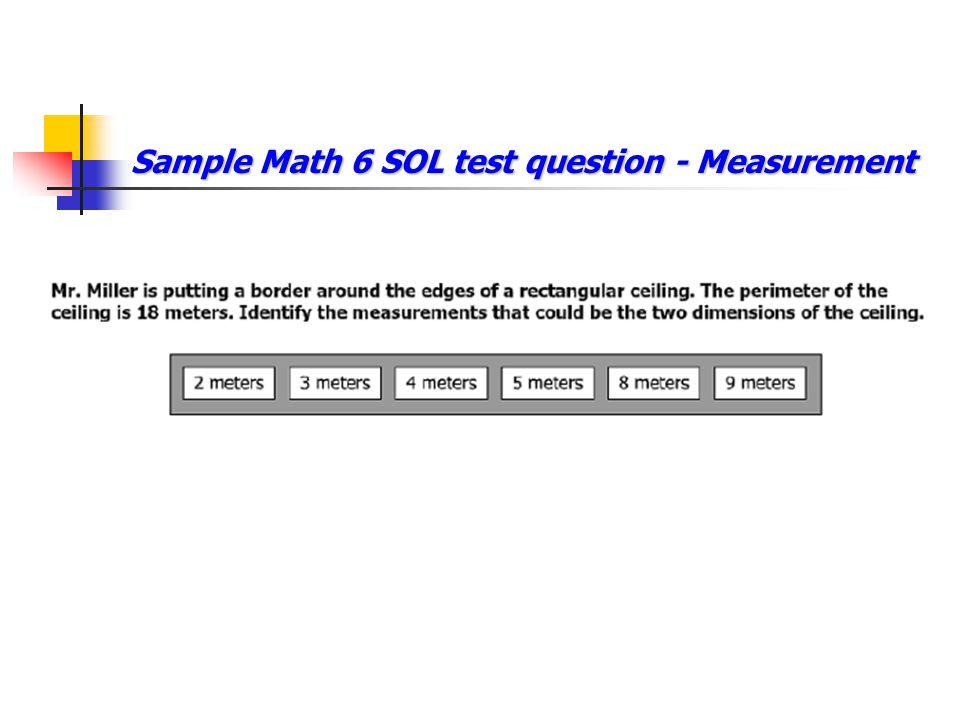 Sample Math 6 SOL test question - Measurement