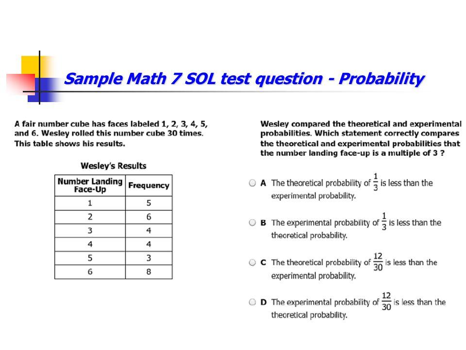 Sample Math 7 SOL test question - Probability