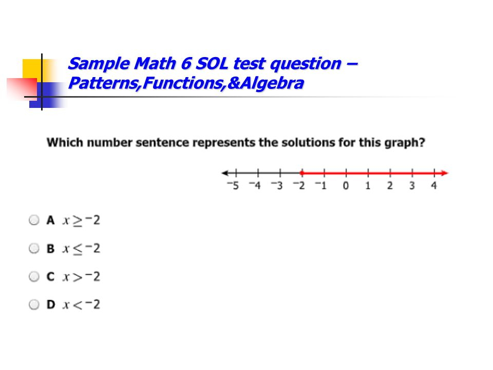 Sample Math 6 SOL test question – Patterns,Functions,&Algebra