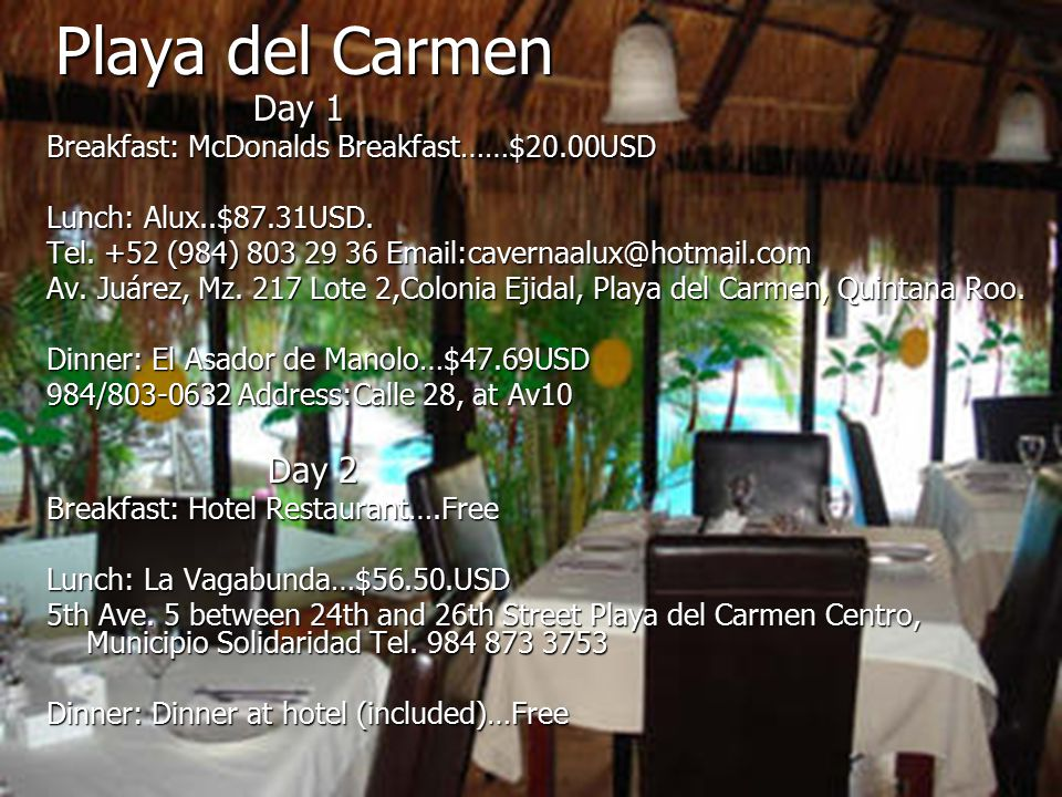 Playa del Carmen Day 1 Day 1 Breakfast: McDonalds Breakfast……$20.00USD Lunch: Alux..$87.31USD.