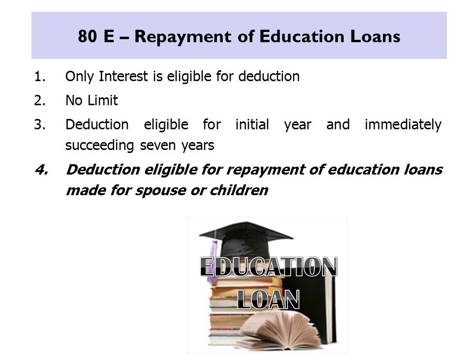 80 E – Repayment of Education Loans 1.Only Interest is eligible for deduction 2.No Limit 3.Deduction eligible for initial year and immediately succeeding seven years 4.Deduction eligible for repayment of education loans made for spouse or children