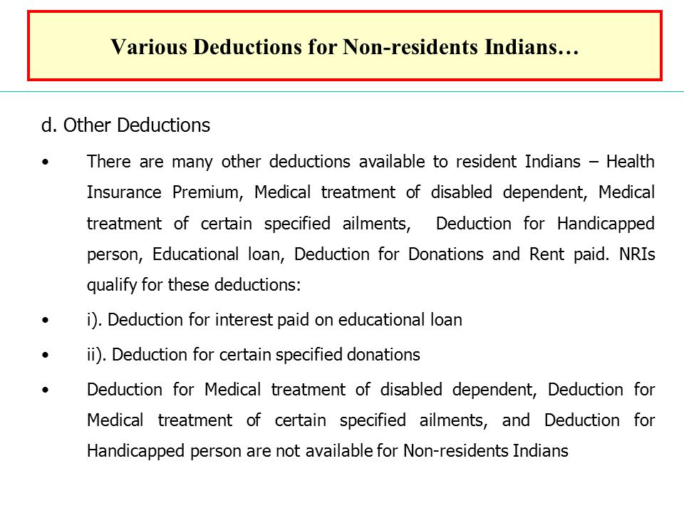 Various Deductions for Non-residents Indians… d.
