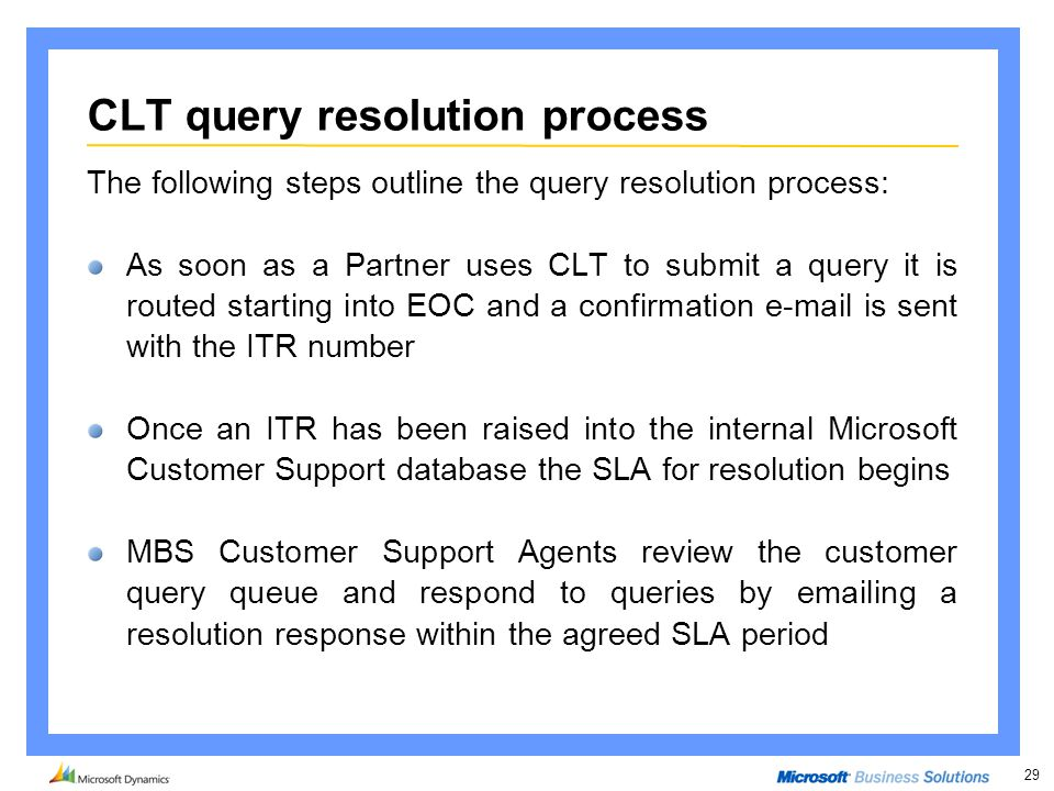 29 CLT query resolution process The following steps outline the query resolution process: As soon as a Partner uses CLT to submit a query it is routed