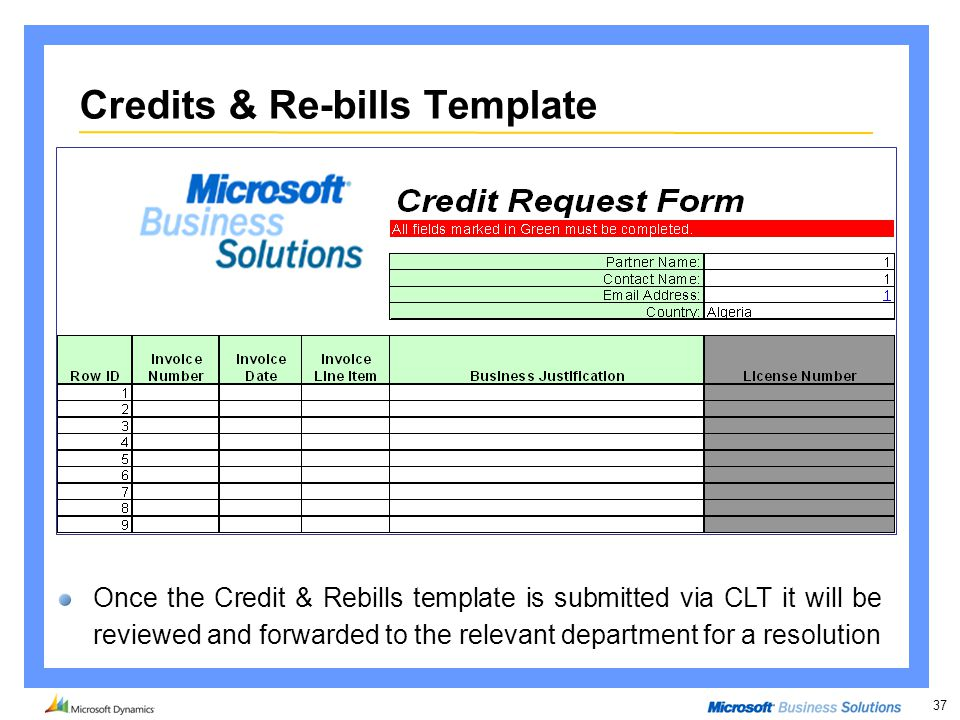 37 Credits & Re-bills Template Once the Credit & Rebills template is submitted via CLT it will be reviewed and forwarded to the relevant department fo