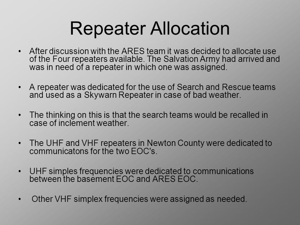 Repeater Allocation After discussion with the ARES team it was decided to allocate use of the Four repeaters available.