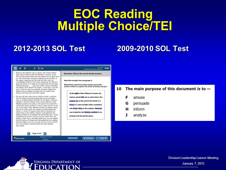 Division Leadership Liaison Meeting January 7, 2013 EOC Reading Multiple Choice/TEI 2012-2013 SOL Test 2009-2010 SOL Test