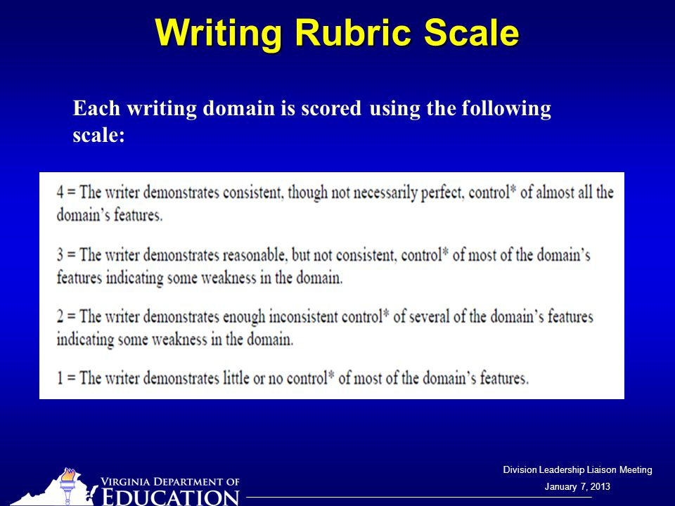Division Leadership Liaison Meeting January 7, 2013 Writing Rubric Scale Each writing domain is scored using the following scale: