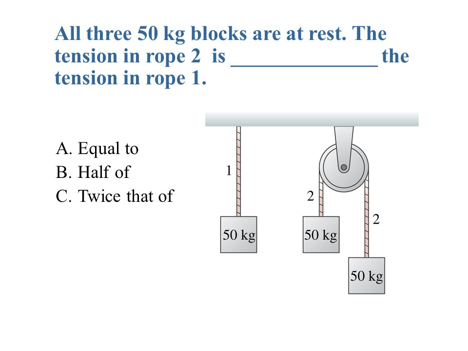 A.Equal to B. Half of C. Twice that of All three 50 kg blocks are at rest.