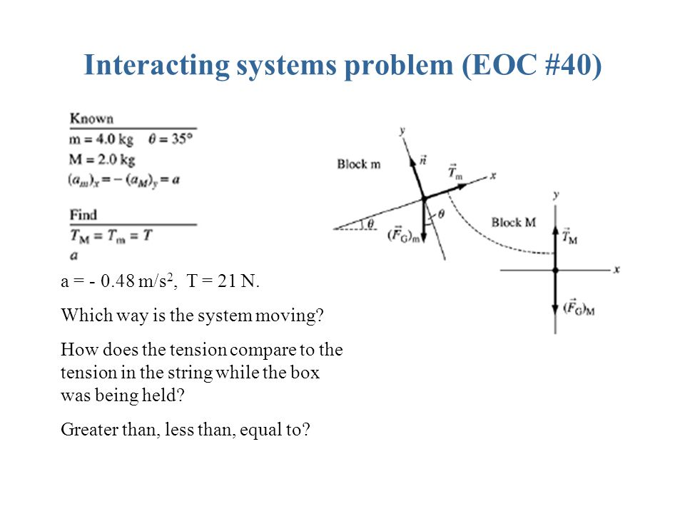 a = - 0.48 m/s 2, T = 21 N.Which way is the system moving.