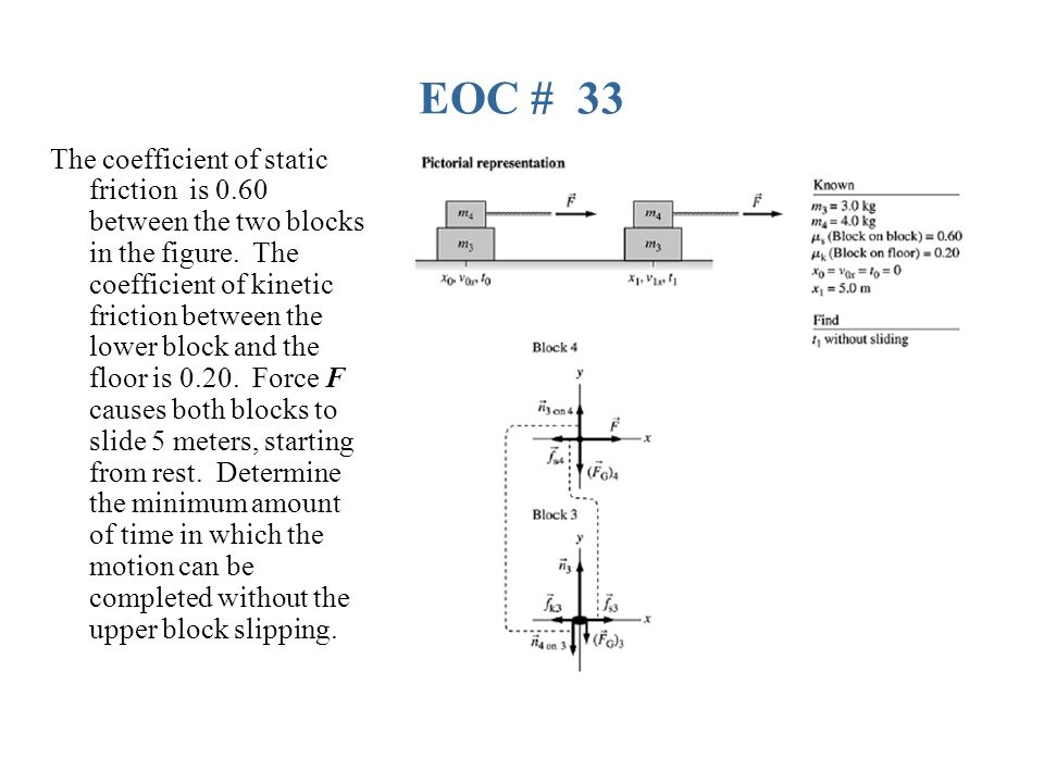 EOC # 33 The coefficient of static friction is 0.60 between the two blocks in the figure.