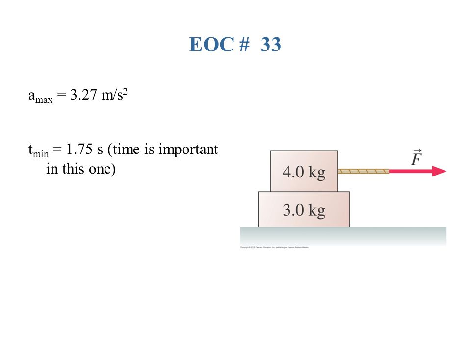 EOC # 33 a max = 3.27 m/s 2 t min = 1.75 s (time is important in this one)