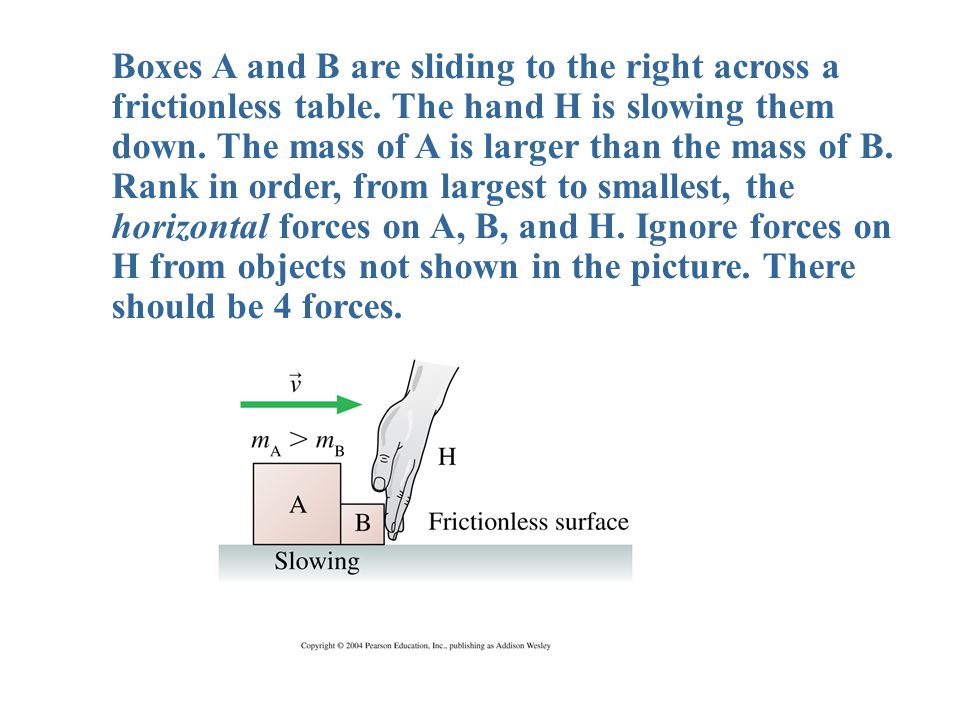 Boxes A and B are sliding to the right across a frictionless table.