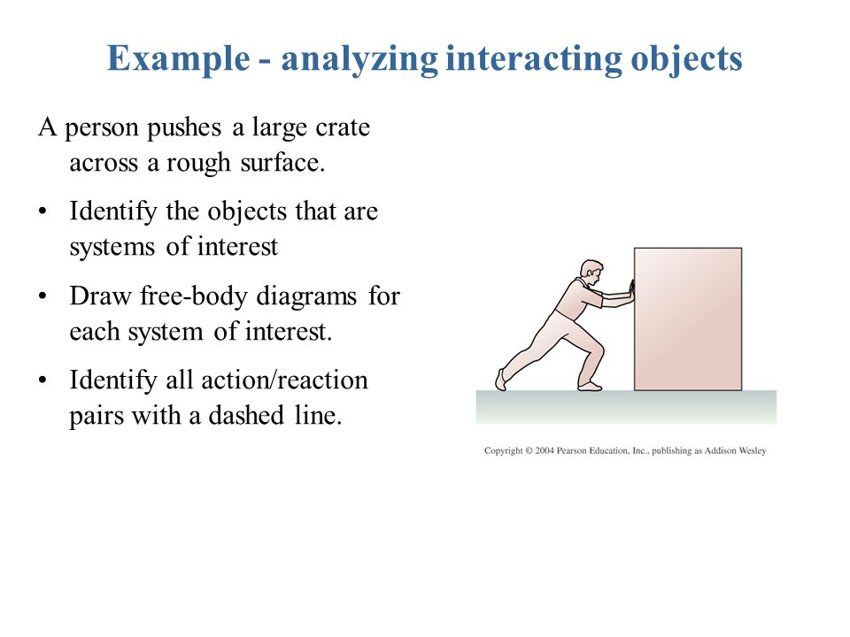 Example - analyzing interacting objects A person pushes a large crate across a rough surface.