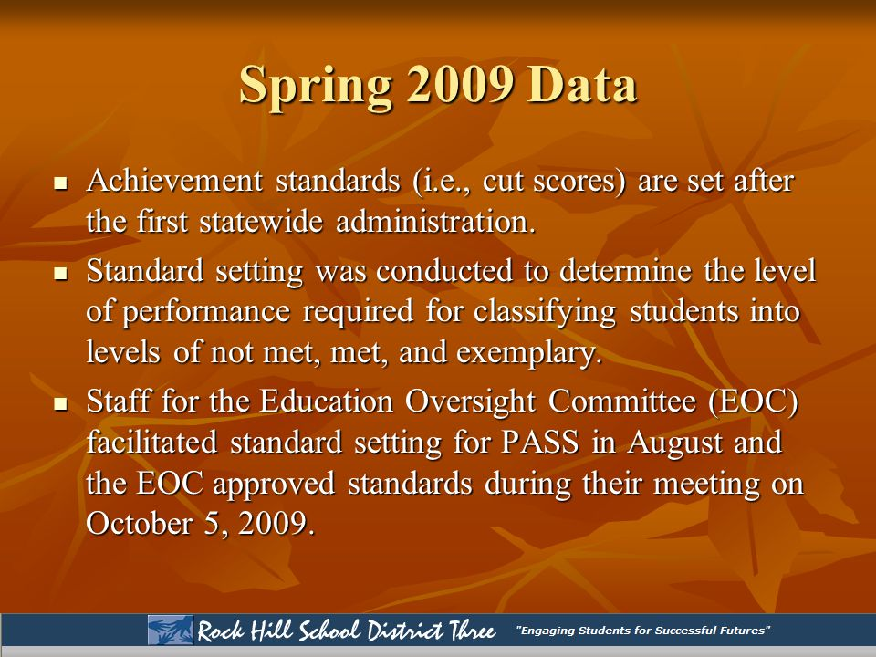 Spring 2009 Data Achievement standards (i.e., cut scores) are set after the first statewide administration.