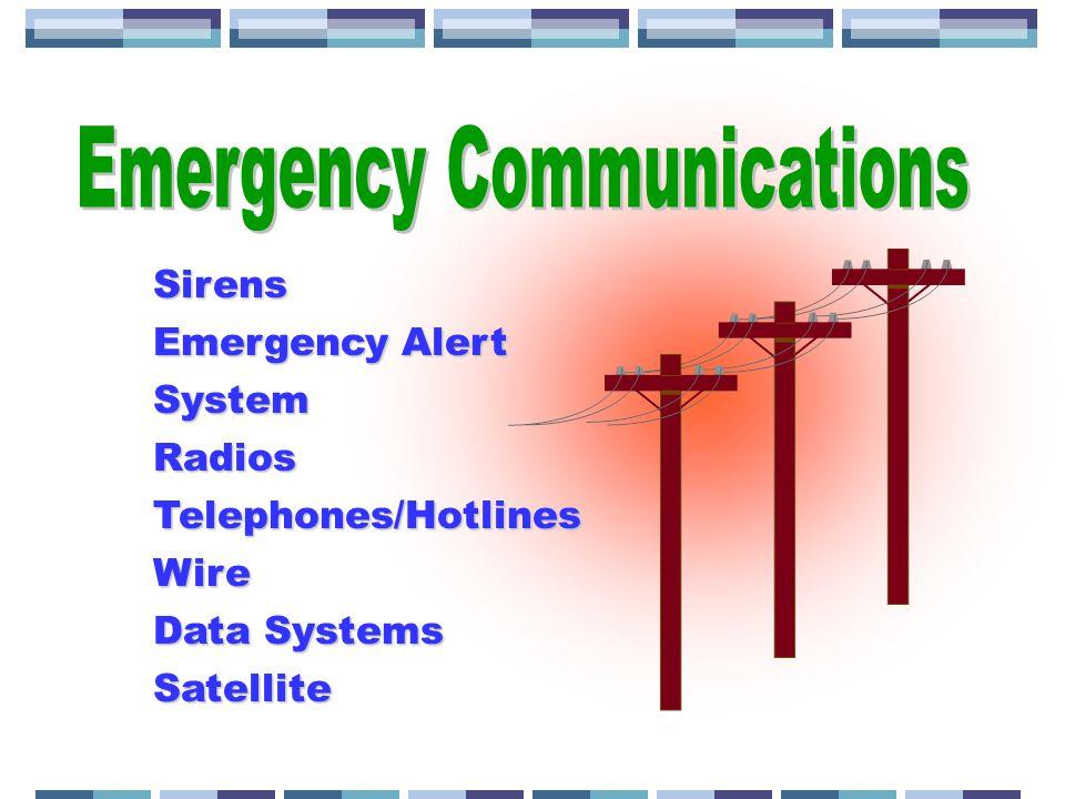 Sirens Emergency Alert System RadiosTelephones/HotlinesWire Data Systems Satellite
