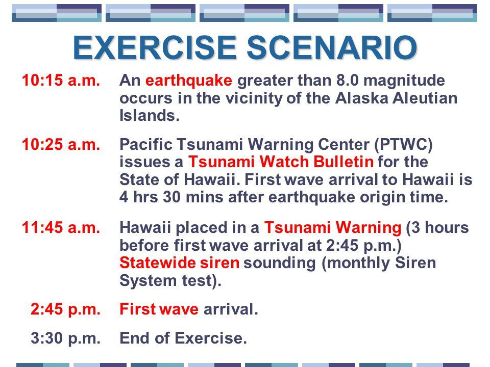 EXERCISE SCENARIO 10:15 a.m. An earthquake greater than 8.0 magnitude occurs in the vicinity of the Alaska Aleutian Islands. 10:25 a.m. Pacific Tsunam