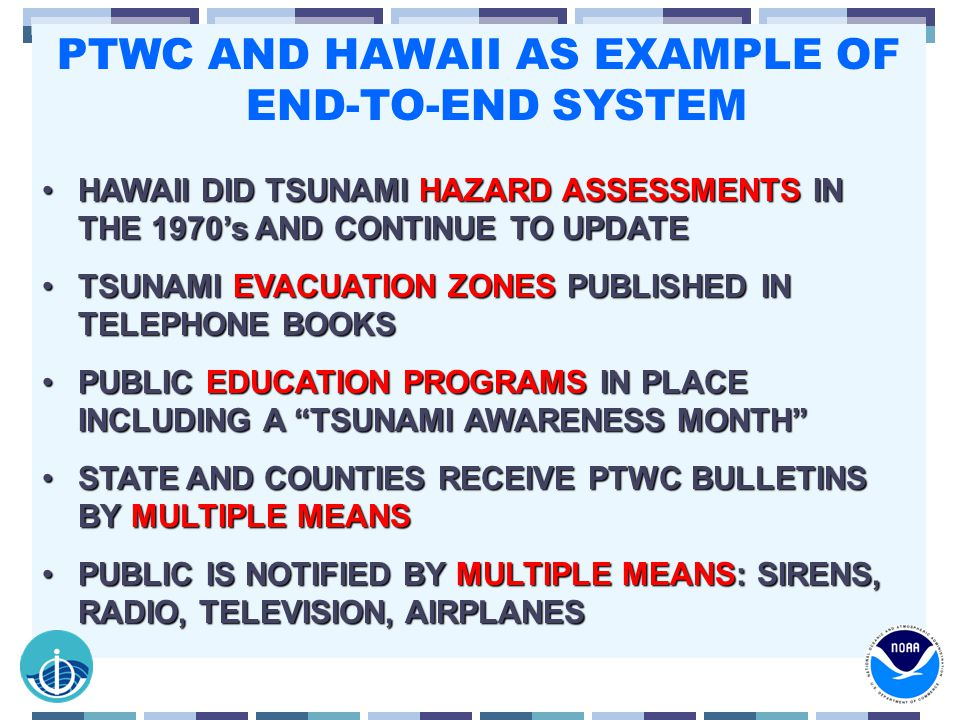 PTWC AND HAWAII AS EXAMPLE OF END-TO-END SYSTEM HAWAII DID TSUNAMI HAZARD ASSESSMENTS IN THE 1970's AND CONTINUE TO UPDATEHAWAII DID TSUNAMI HAZARD ASSESSMENTS IN THE 1970's AND CONTINUE TO UPDATE TSUNAMI EVACUATION ZONES PUBLISHED IN TELEPHONE BOOKSTSUNAMI EVACUATION ZONES PUBLISHED IN TELEPHONE BOOKS PUBLIC EDUCATION PROGRAMS IN PLACE INCLUDING A TSUNAMI AWARENESS MONTH PUBLIC EDUCATION PROGRAMS IN PLACE INCLUDING A TSUNAMI AWARENESS MONTH STATE AND COUNTIES RECEIVE PTWC BULLETINS BY MULTIPLE MEANSSTATE AND COUNTIES RECEIVE PTWC BULLETINS BY MULTIPLE MEANS PUBLIC IS NOTIFIED BY MULTIPLE MEANS: SIRENS, RADIO, TELEVISION, AIRPLANESPUBLIC IS NOTIFIED BY MULTIPLE MEANS: SIRENS, RADIO, TELEVISION, AIRPLANES