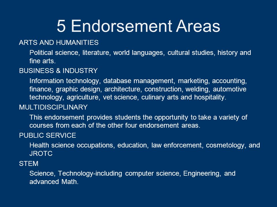 5 Endorsement Areas ARTS AND HUMANITIES Political science, literature, world languages, cultural studies, history and fine arts. BUSINESS & INDUSTRY I