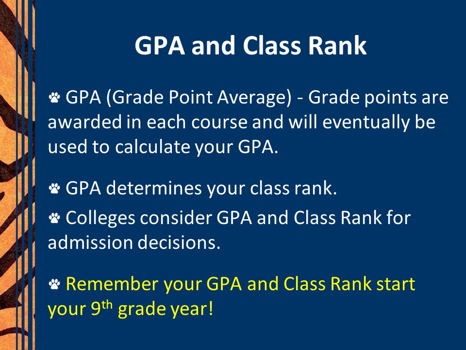 GPA and Class Rank GPA (Grade Point Average) - Grade points are awarded in each course and will eventually be used to calculate your GPA. GPA determin