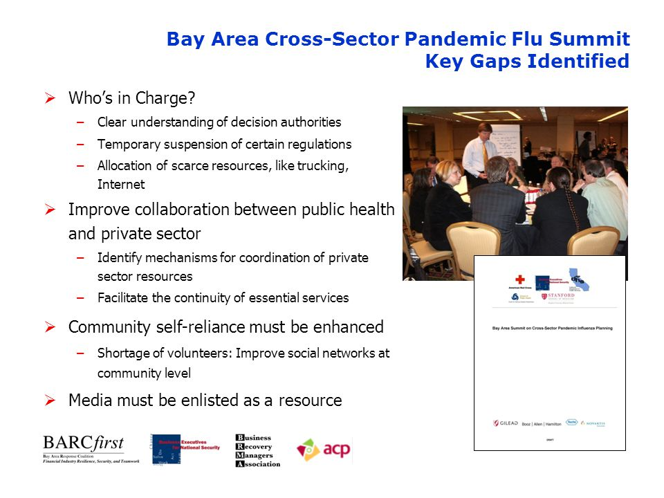 Bay Area Cross-Sector Pandemic Flu Summit Key Gaps Identified  Who's in Charge.