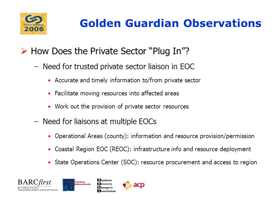 Golden Guardian Observations  What Resources Can Your Business Provide.