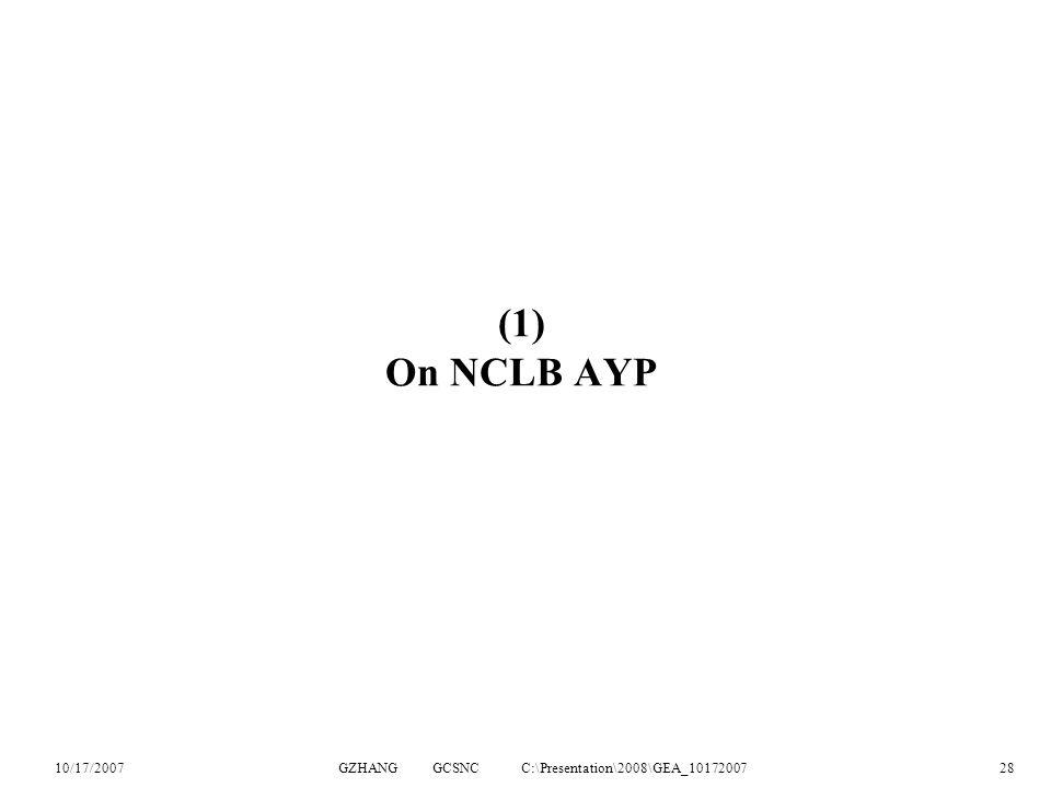 10/17/2007GZHANG GCSNC C:\Presentation\2008\GEA_1017200728 (1) On NCLB AYP