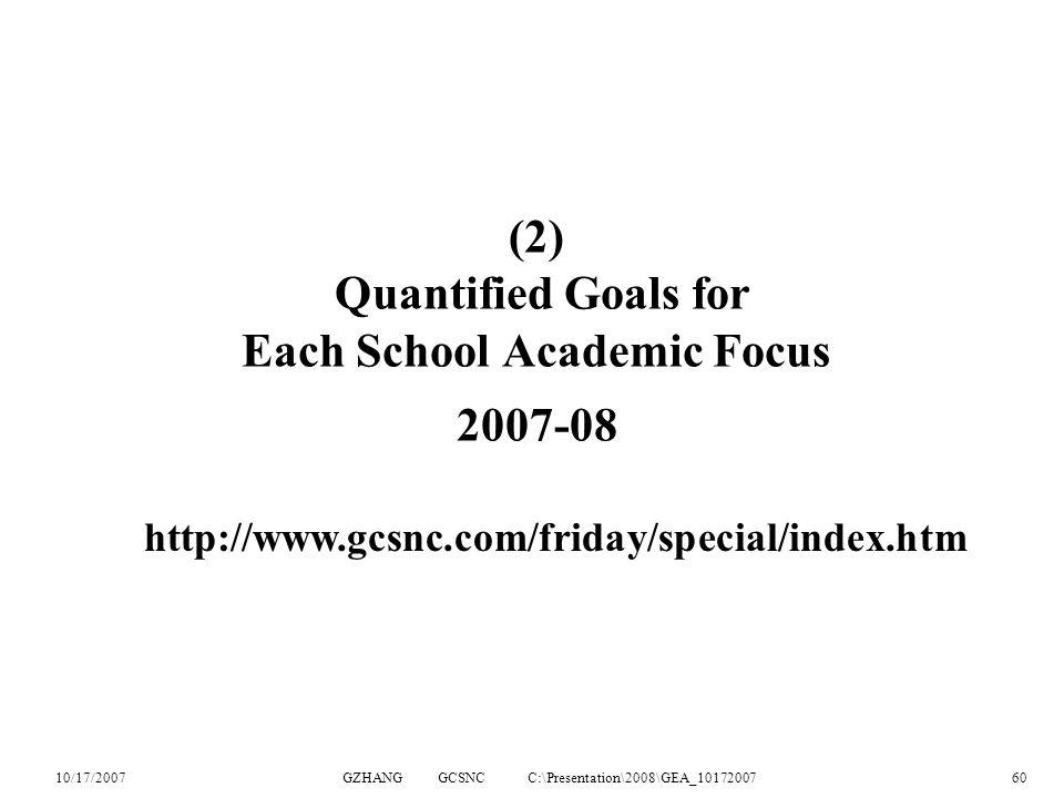 10/17/2007GZHANG GCSNC C:\Presentation\2008\GEA_1017200760 (2) Quantified Goals for Each School Academic Focus 2007-08 http://www.gcsnc.com/friday/special/index.htm