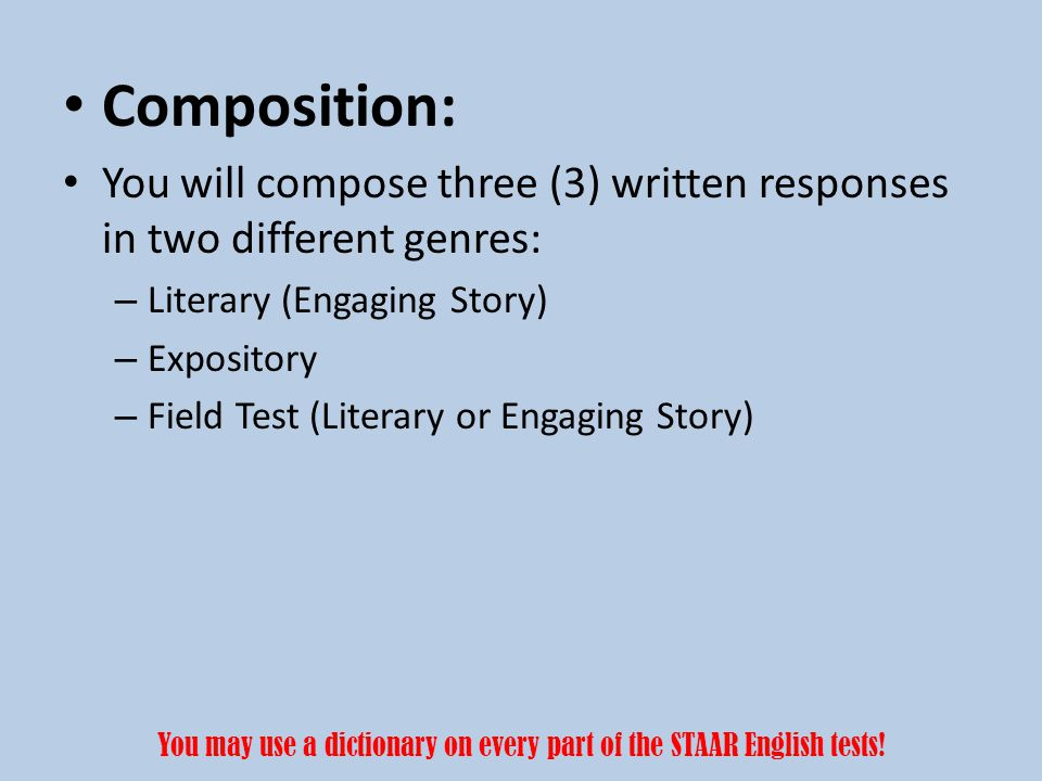 Expository Writing The expository task requires you to clearly explain your position on something.