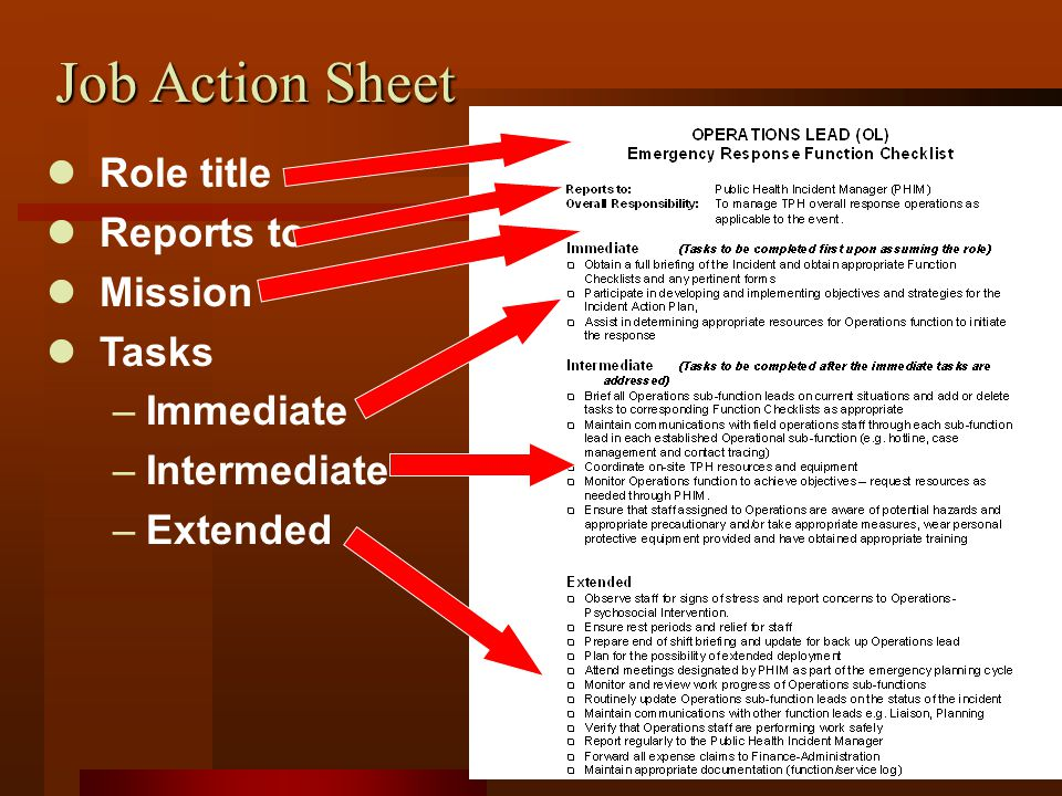 Job Action Sheet Role title Reports to Mission Tasks –Immediate –Intermediate –Extended
