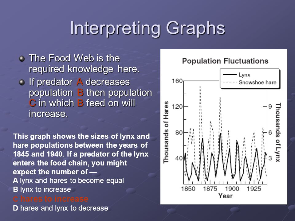 Interpreting Graphs This graph shows the sizes of lynx and hare populations between the years of 1845 and 1940.