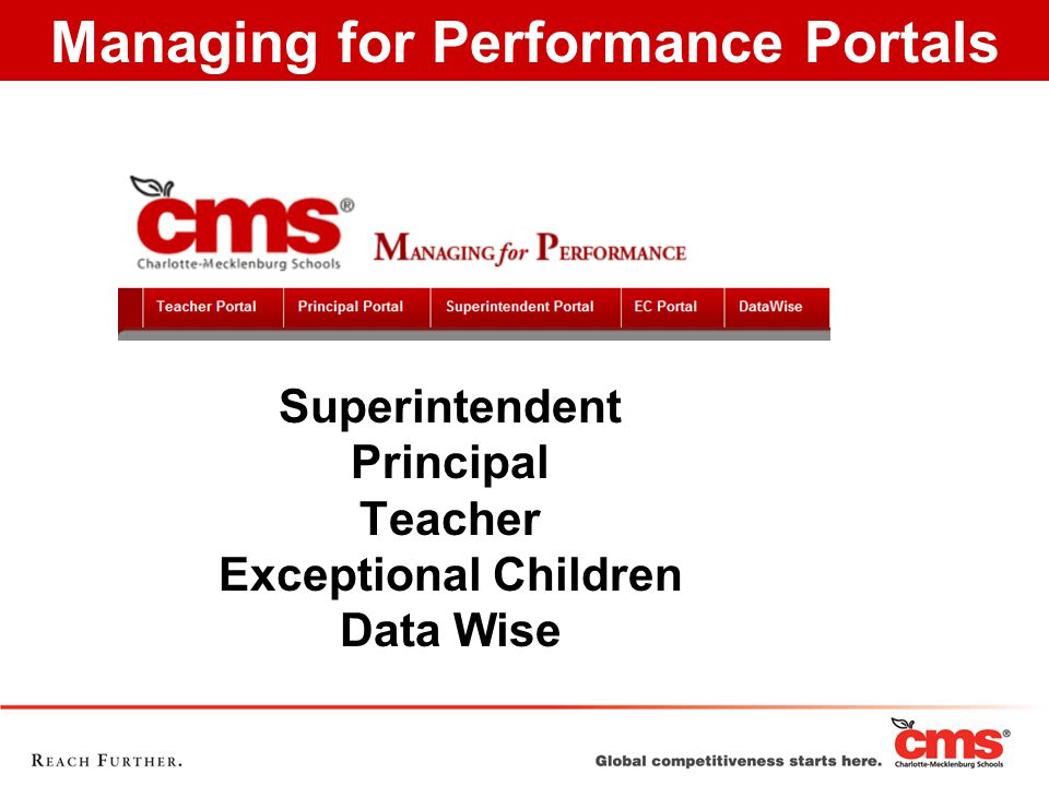 Superintendent Principal Teacher Exceptional Children Data Wise Managing for Performance Portals