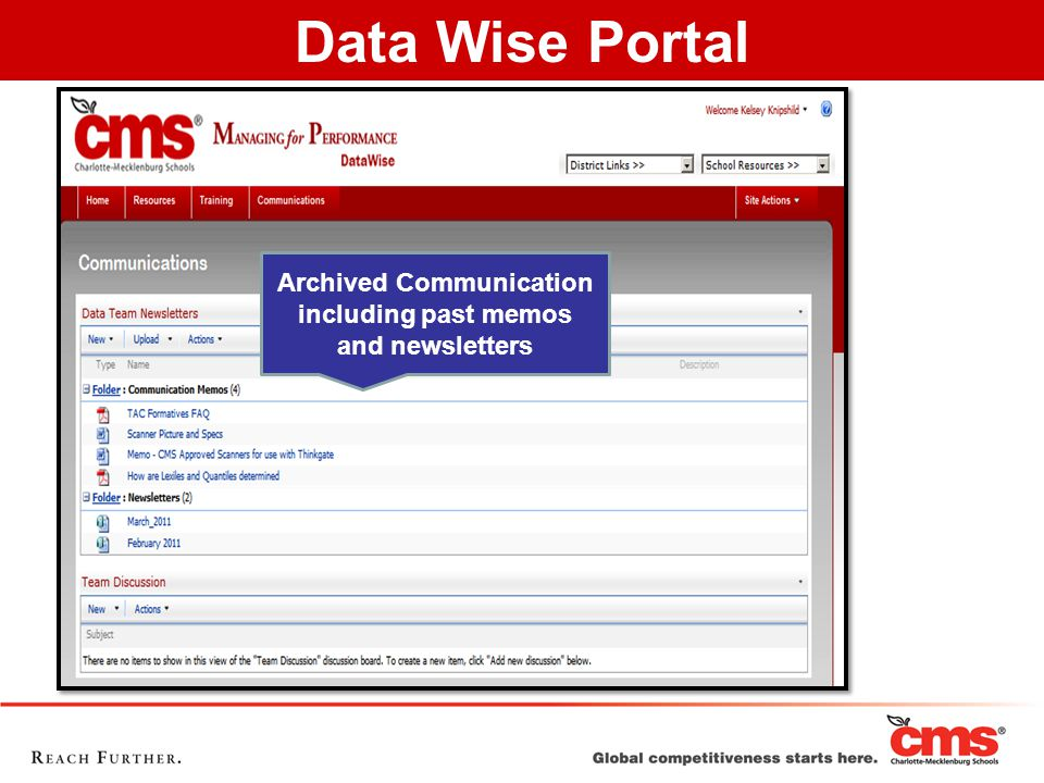 Archived Communication including past memos and newsletters Data Wise Portal