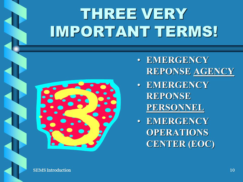 SEMS Introduction10 THREE VERY IMPORTANT TERMS.
