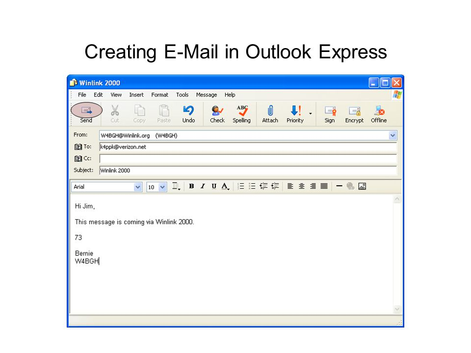 Creating E-Mail in Outlook Express