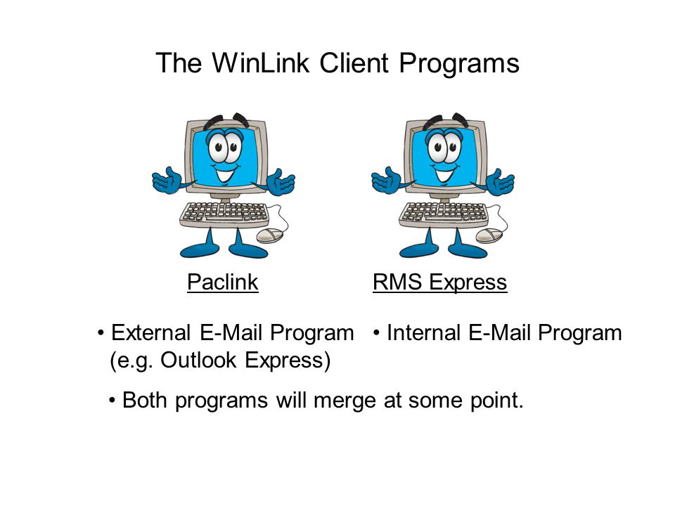 The WinLink Client Programs PaclinkRMS Express Both programs will merge at some point.