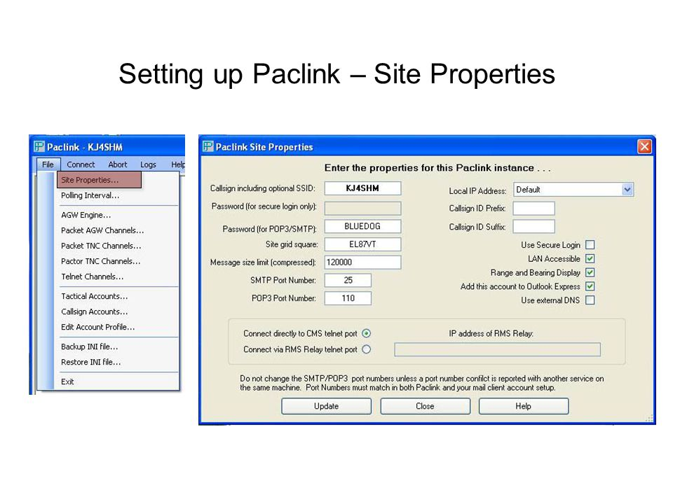 Setting up Paclink – Site Properties
